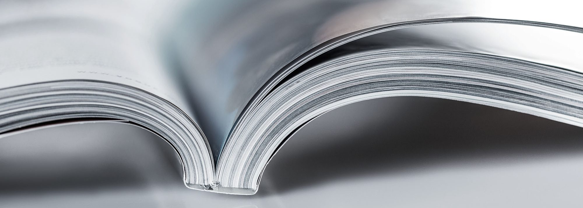 close up of an open paper magazine